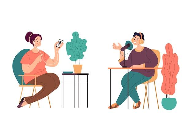 Pessoas homem mulher personagens ouvindo gravando conceito de podcast de áudio