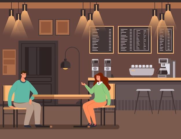 Pessoas homem mulher personagens sentados em bar e conversando