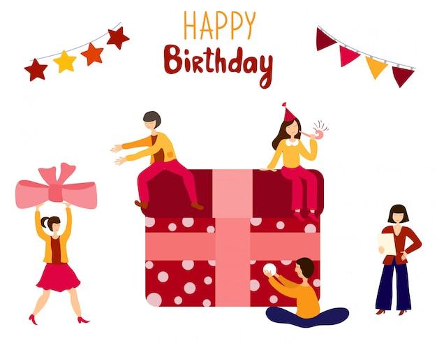 Pessoas - homens, mulheres - cozinhar, decorar bolo de aniversário