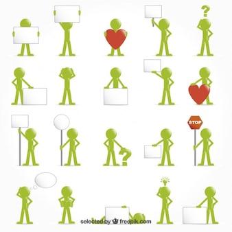 Pessoas ícones verdes com sinais e símbolos