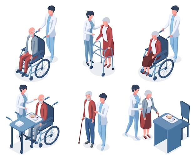 Pessoas idosas 3d isométricas ajudam os cuidados médicos. terapia médica de pessoas sênior, conjunto de ilustração vetorial de enfermagem de paciente idoso. idosos cuidam