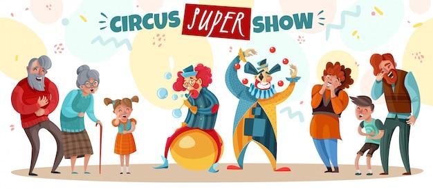 Pessoas idosas adultos e crianças rindo de palhaço de circo mostram desenhos animados