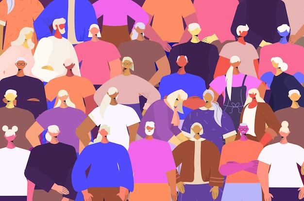 Pessoas idosas agrupam amigos maduros juntos. retrato do conceito de velhice