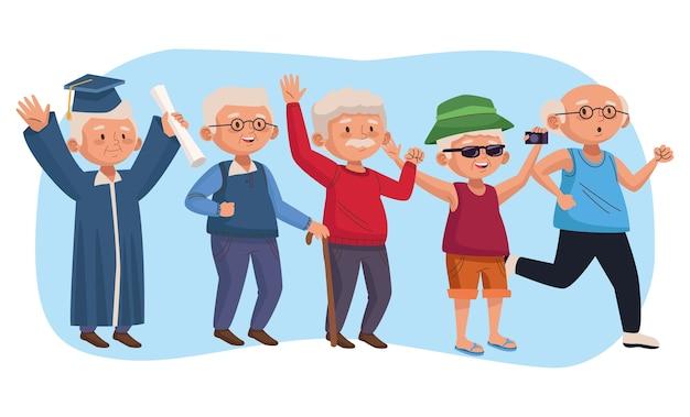 Pessoas idosas agrupam personagens idosos ativos