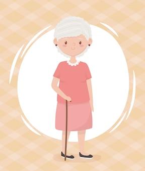 Pessoas idosas, avó de mulher idosa, personagem de desenho animado de pessoa madura