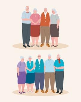 Pessoas idosas bonitos, grupo de avós e avós design ilustração