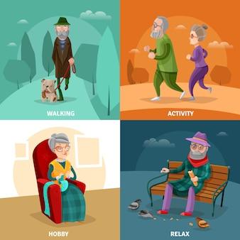 Pessoas idosas, caricatura, conceito
