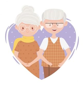 Pessoas idosas, casal fofo avó e vovô em personagens de desenhos animados de coração de amor