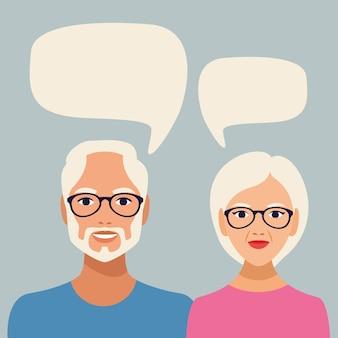Pessoas idosas com personagens de bolhas do discurso.