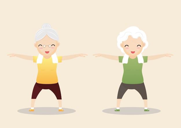 Pessoas idosas exercitando ilustração
