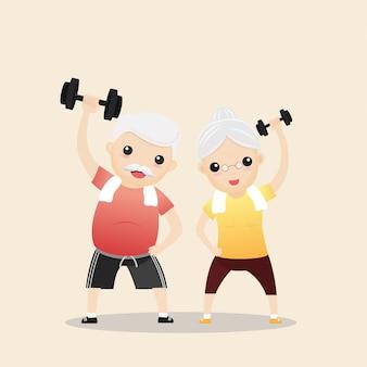 Pessoas idosas exercitando
