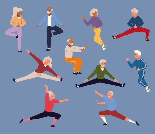 Pessoas idosas fazendo esporte