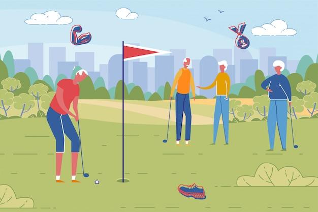 Pessoas idosas jogando golfe no cenário da paisagem.