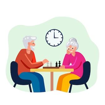Pessoas idosas jogando xadrez juntos sorrindo conceito social isolado ilustração no fundo branco
