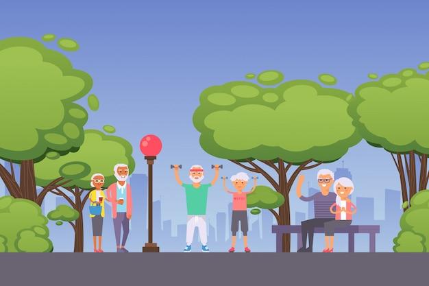 Pessoas idosas no parque, feliz casal sênior na aposentadoria, estilo de vida saudável e ativo