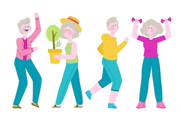 Pessoas idosas plantando e praticando esportes