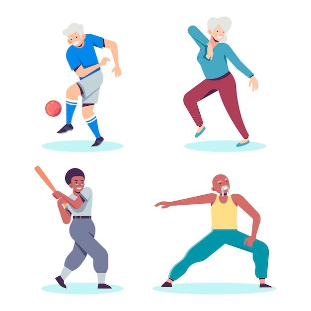 Pessoas idosas praticando diferentes tipos de esportes