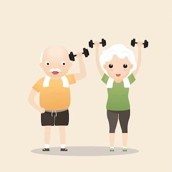 Pessoas idosas que exercitam o conceito.