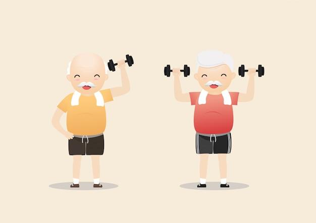Pessoas idosas se exercitando.