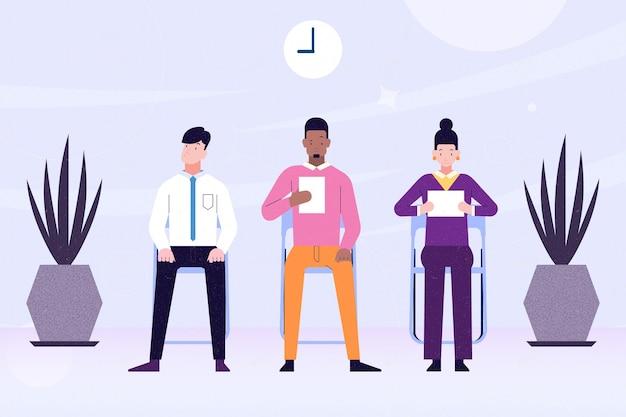 Pessoas ilustradas à espera de uma entrevista de emprego