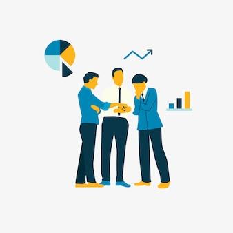 Pessoas ilustradas, brainstorming, crescimento de negócios
