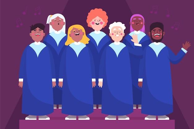 Pessoas ilustradas cantando em um coral gospel
