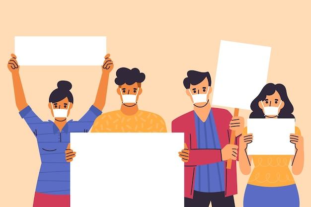 Pessoas ilustradas com máscaras médicas e cartazes