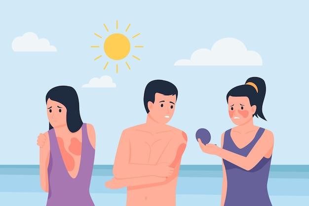 Pessoas ilustradas com queimaduras de sol