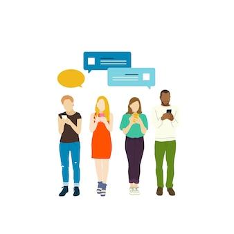 Pessoas ilustradas com rede social