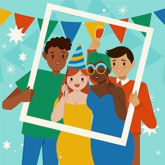 Pessoas ilustradas comemorando em uma festa de aniversário