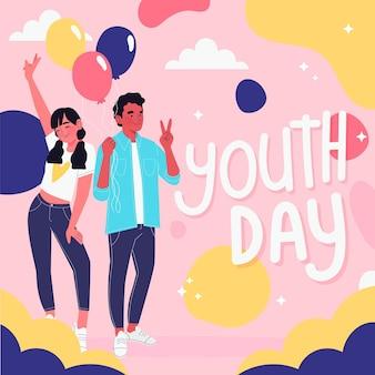 Pessoas ilustradas comemorando o dia da juventude