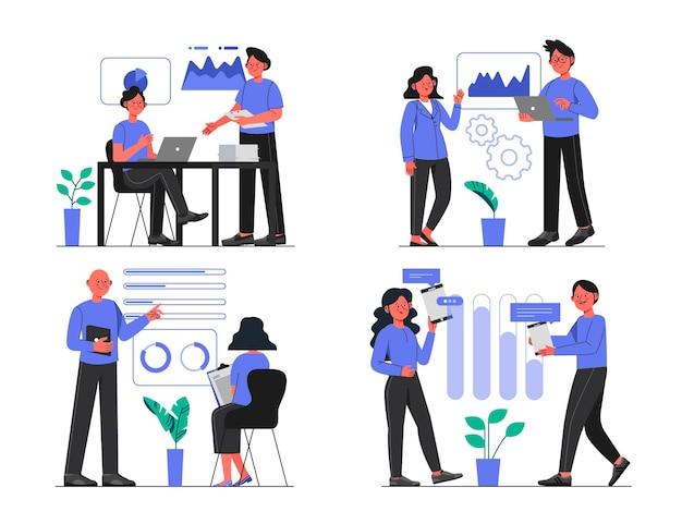 Pessoas ilustradas em treinamento empresarial