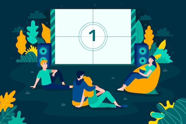 Pessoas ilustradas em um cinema ao ar livre