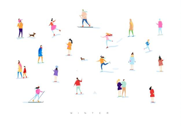 Pessoas ilustradas em uma caminhada de inverno
