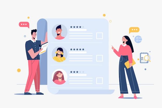 Pessoas ilustradas escolhendo um novo trabalhador