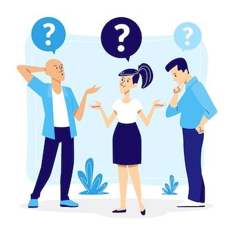 Pessoas ilustradas fazendo perguntas