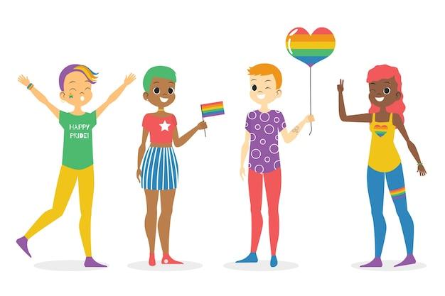 Pessoas ilustradas no conceito do dia do orgulho
