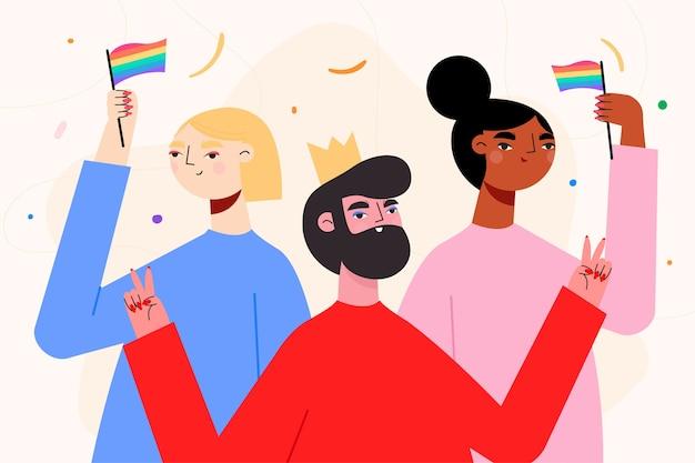 Pessoas ilustradas no dia do orgulho comemorando