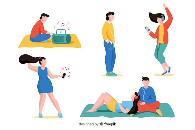 Pessoas ilustradas ouvindo música em sua coleção de fones de ouvido