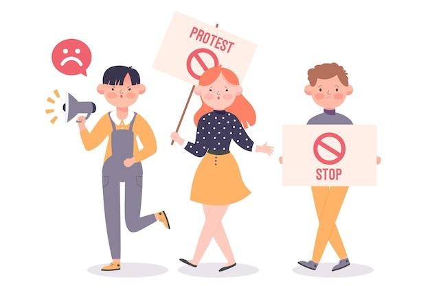 Pessoas ilustradas protestando pacificamente