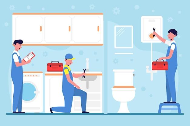 Pessoas ilustradas reformando um banheiro
