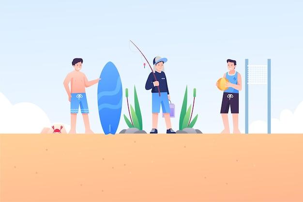 Pessoas ilustradas relaxando enquanto pratica esportes de verão
