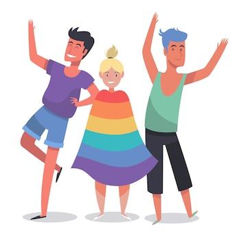 Pessoas ilustradas sobre o tema do dia do orgulho