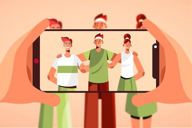 Pessoas ilustradas tirando fotos com smartphone