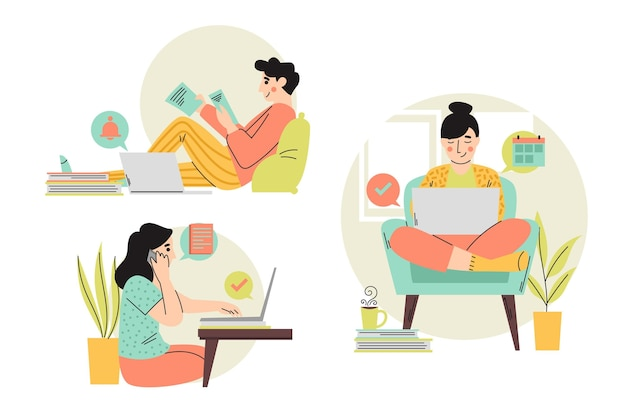 Pessoas ilustradas trabalhando remotamente