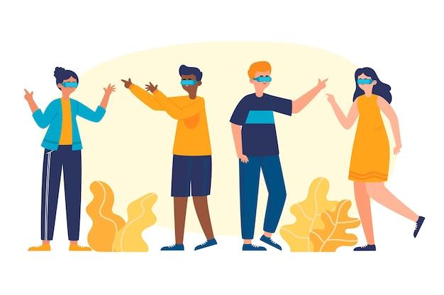Pessoas ilustradas usando óculos de realidade virtual