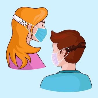 Pessoas ilustradas usando uma tira de máscara facial ajustável