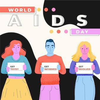 Pessoas incentivando o teste no evento do dia da aids