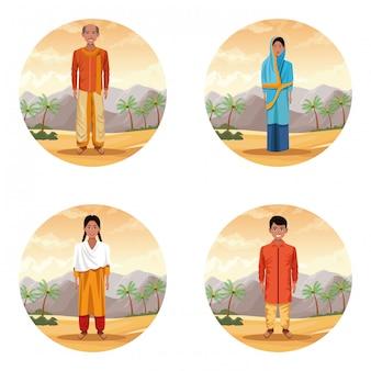 Pessoas indianas étnicas no desenho animado do deserto