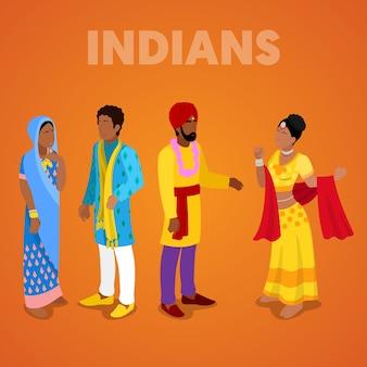 Pessoas indianas isométricas em roupas tradicionais. ilustração 3d plana vetorial